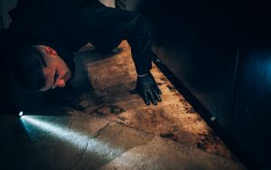 Pest Control Specialist Using Light To Discover Pest Infestation